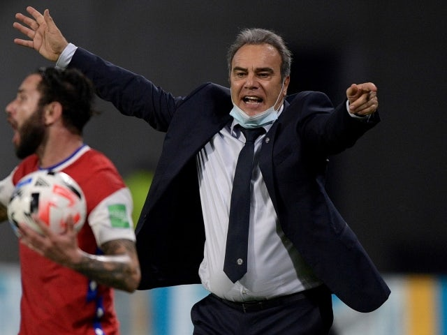 Chile manager Martin Lasarte reacts on June 4, 2021
