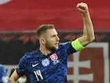 Milan Skriniar celebrates scoring for Slovakia in March 2021