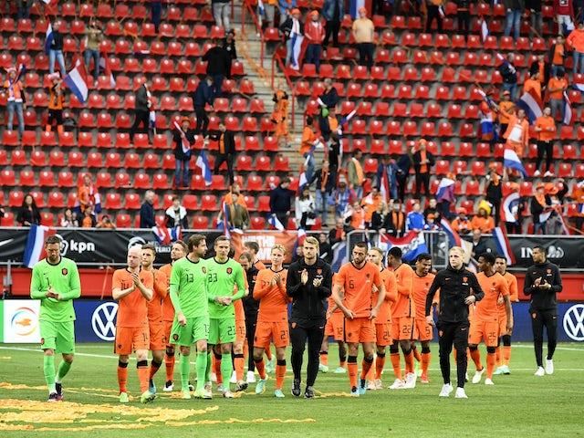 Netherlands players celebrate beating Georgia on June 6, 2021