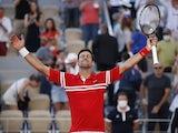 Novak Djokovic celebrates winning the 2021 French Open on June 13, 2021