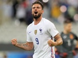 France's Olivier Giroud celebrates scoring their second goal on June 8, 2021