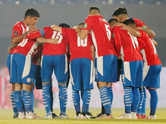 Paraguay team huddle before the match on June 9, 2021