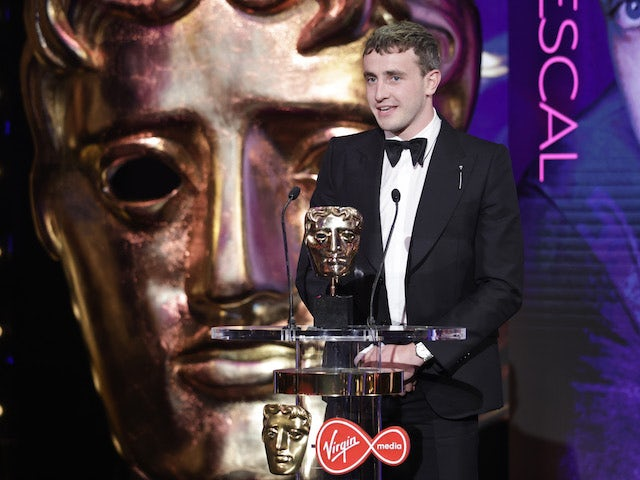 Paul Mescal collects his award for Best Actor at the BAFTA TV Awards on June 6, 2021