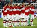 Poland players line up on June 1, 2021