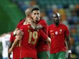 Portugal's Joao Cancelo celebrates scoring against Israel on June 9, 2021