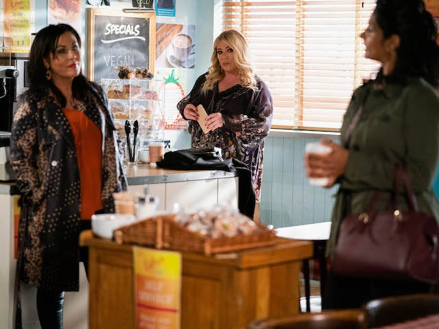 Kat, Sharon and Suki on the second episode of EastEnders on June 16, 2021