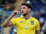 Ukraine's Roman Yaremchuk celebrates scoring on June 7, 2021