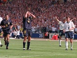 Gary McAllister reacts to missing a penalty against England at Euro 96