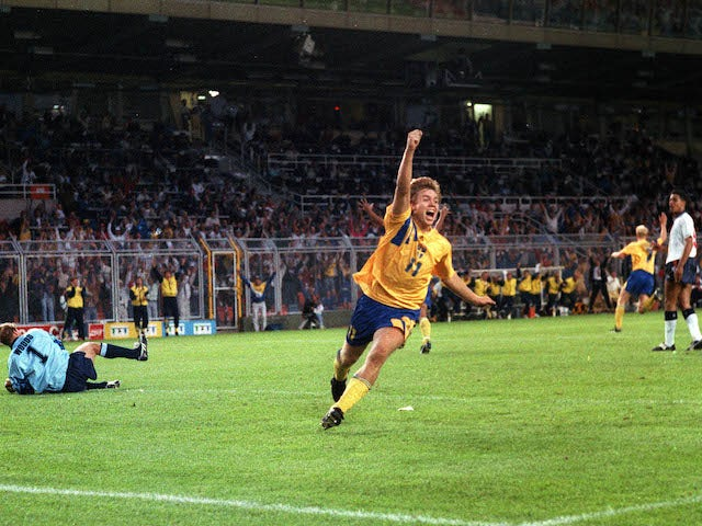 Sweden's Tomas Brolin celebrates scoring against England at Euro 92