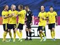 Sweden's Emil Forsberg celebrates scoring their first goal with teammates on June 5, 2021