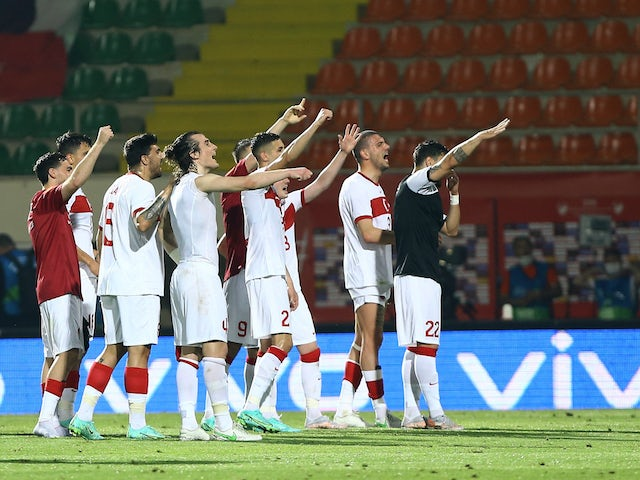 Turkey players celebrate after a match on May 27, 2021