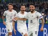Italy's Lorenzo Insigne celebrates scoring their third goal against Turkey at Euro 2020 on June 11, 2021