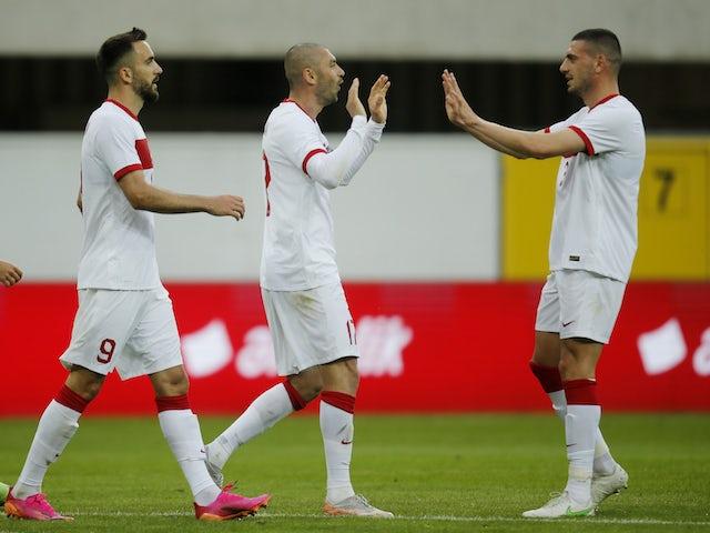 Turkey's Burak Yilmaz celebrates scoring their first goal on June 3, 2021