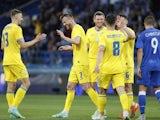 Ukraine's Andriy Yarmolenko celebrates scoring their fourth goal with teammates on June 7, 2021