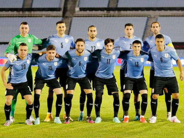 Uruguay players line up on June 3, 2021