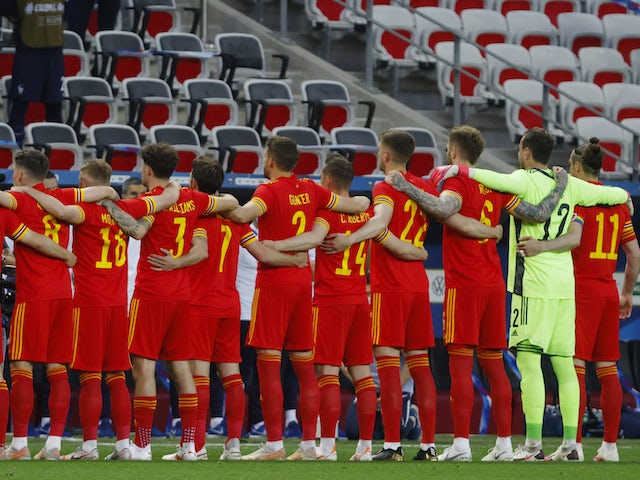 Wales players line up before their match against France on June 2, 2021