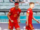 Kieffer Moore celebrates scoring for Wales against Switzerland at Euro 2020 on June 12, 2021