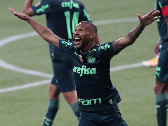 Wesley Ribeiro Silva do Palmeiras comemora seu terceiro gol no dia 6 de junho de 2021