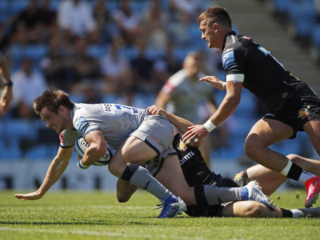 Sale's AJ MacGinty scores a try on June 12, 2021