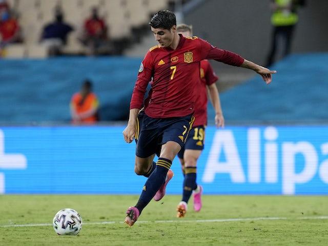 El español Álvaro Morata en un partido contra Suecia en la Eurocopa 2020 el 14 de junio de 2021