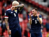 Scotland's Andrew Robertson and Lyndon Dykes pictured on June 14, 2021