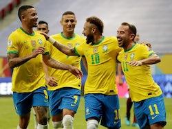 Brazil's Neymar celebrates scoring their second goal with teammates on June 13, 2021