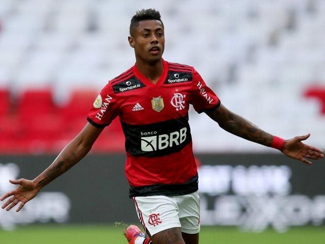 Bruno Henrique do Flamengo comemora marcar seu primeiro gol no dia 13 de junho de 2021