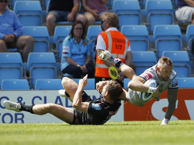 Sale's Byron McGuigan scores a try on June 12, 2021