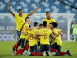 Colombia's Edwin Cardona celebrates scoring their first goal with teammates on June 13, 2021