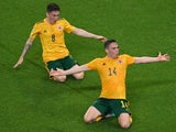 Wales' Connor Roberts celebrates scoring their second goal with Harry Wilson on June 16, 2021