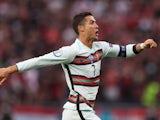 Portugal's Cristiano Ronaldo celebrates scoring against Hungary at Euro 2020 on June 15, 2021