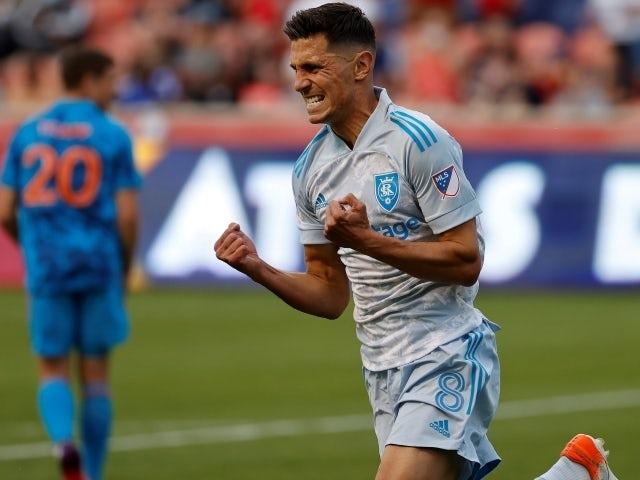 Real Salt Lake midfielder Damir Kreilach reacts after his first half goal May 30, 2021