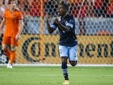 Vancouver Whitecaps FC forward Deiber Caicedo reacts after scoring a goal on May 23, 2021