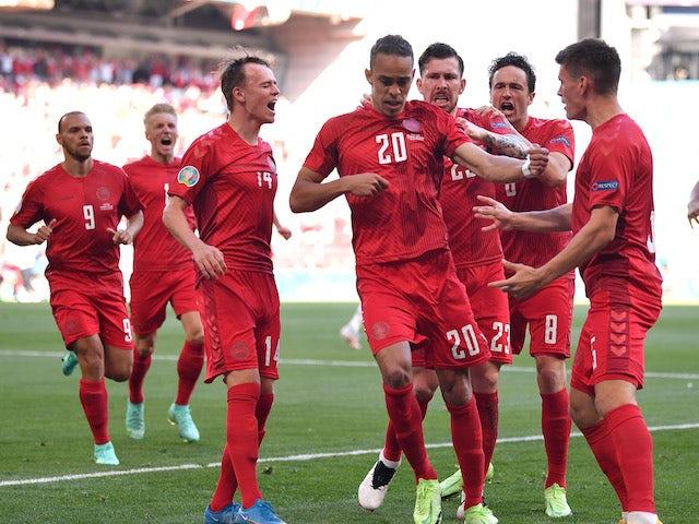 Denmark's Yussuf Poulsen celebrates scoring against Belgium at Euro 2020 on June 17, 2021