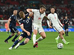 England's Kalvin Phillips in action with Scotland's Stuart Armstrong at Euro 2020 on June 18, 2021