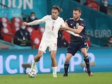 England's Jack Grealish in action with Scotland's Stephen O'Donnell at Euro 2020 on June 18, 2021