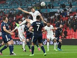England's John Stones hits the post against Scotland at Euro 2020 on June 18, 2021
