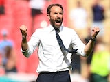 England manager Gareth Southgate celebrates after the match on June 13, 2021