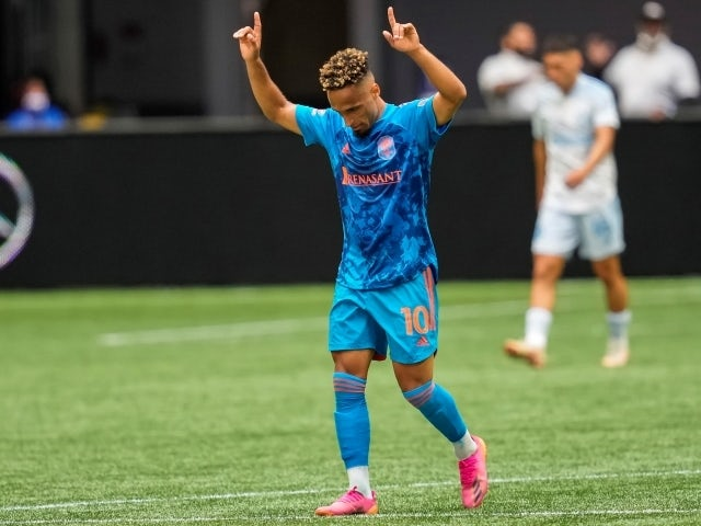 Nashville SC midfielder Hany Mukhtar reacts after scoring a goal on May 29, 2021