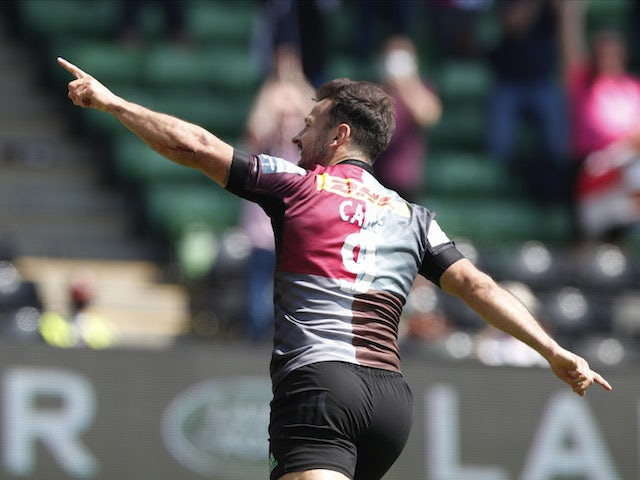 Harlequins' Danny Care celebrates after scoring a try on May 29, 2021