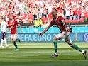 Hungary's Attila Fiola celebrates scoring against France at Euro 2020 on June 19, 2021