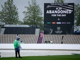 General view of the big screen as it displays a message that play between India and New Zealand has been abandoned for the day on June 18, 2021