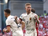 Belgium's Kevin De Bruyne celebrates during the Euro 2020 clash with Denmark on June 17, 2021
