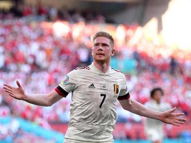Belgium's Kevin De Bruyne celebrates scoring against Denmark at Euro 2020 on June 17, 2021