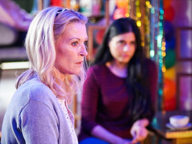 Kathy and Iqra on EastEnders on June 25, 2021