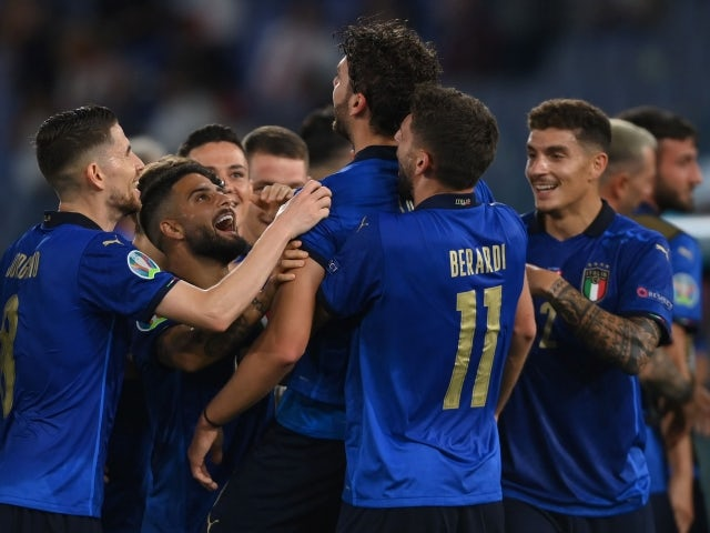 Italy's Manuel Locatelli celebrates scoring their first goal with teammates on June 16, 2021