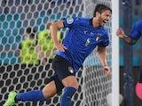 Italy midfielder Manuel Locatelli celebrates scoring against Switzerland at Euro 2020 on June 16, 2021