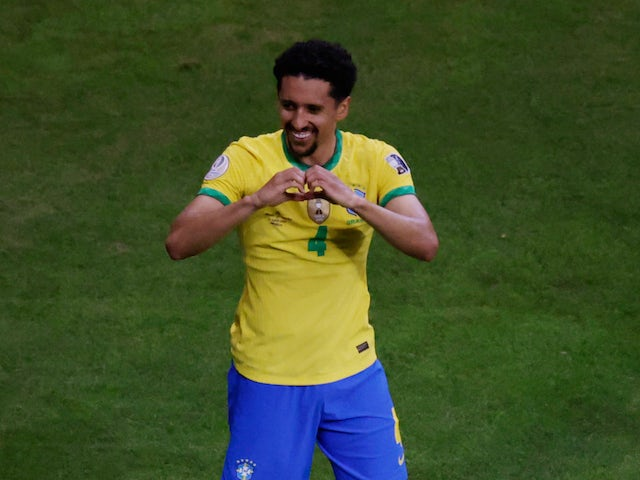 Marquinhos celebrates scoring for Brazil at the Copa America on June 13, 2021
