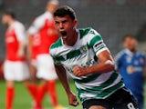 Matheus Nunes celebrates scoring for Sporting Lisbon in April 2021