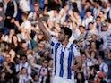 Mikel Merino celebrates scoring for Real Sociedad in May 2019